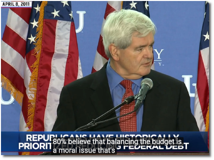 Newt says that balancing the budget is a moral issue at Liberty Univ (8 Apr 2011)