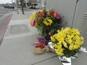 Flowers at Crash site of Julie Allen
