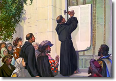 Martin Luther nails his 95 Theses to the door at Wittenberg cathedral in 1517