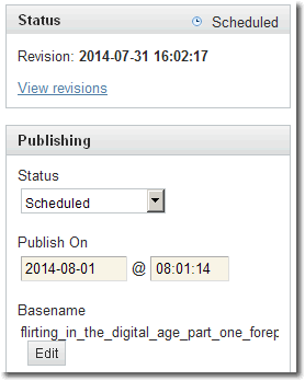Screenshot of Movable Type's Publishing Status on July 31, 2014