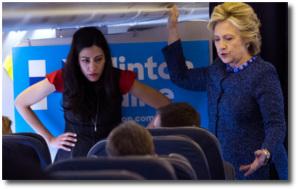 Hillary and Huma Abedin aboard campaign plane Oct 28, 2016
