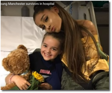 Ariana with 8-year-old Lily Harrison at Manchester Children's hospital June 3, 2017