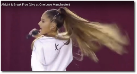 Ariana singing Be Alright at One Love Manchester June 4, 2017