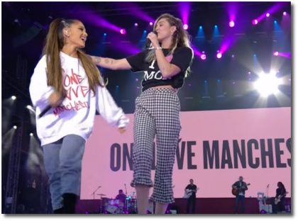 Ariana and Miley singing Dont Dream It's Over at One Love Manchester