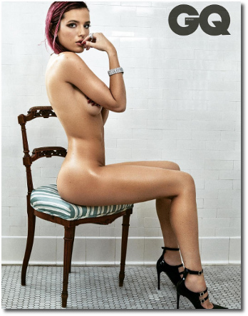 Bella Thorne (19) seated naked on chair GQ Mexico October 2017
