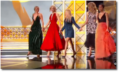 The girls of 'Big Little Lies' walk out on stage holding hands at 2017 Emmys Sept 17