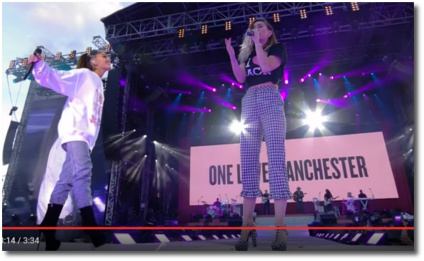 Miley and Ariana sing Dont Dream It's Over One Love Manchester