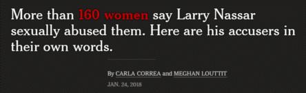 Larry Nassar abused 160 girls