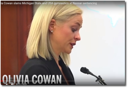 Olivia Cowan reads her statement