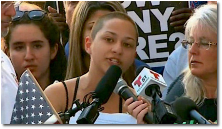 Emma Gonzalez, a student at Marjory Stoneman Douglas high school, gives a speech at a rally at the Broward County Federal Courthouse in Fort Lauderdale 17 Feb 2018